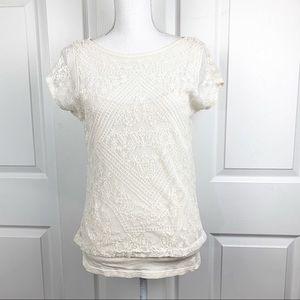 Lauren Ralph Lauren Lace Short Sleeve Blouse